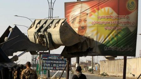 Masoud Barzani image being destroyed in Kirkuk