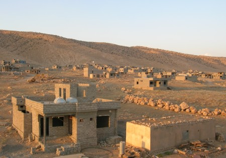A Yazidi village, previously destroyed by Saddam Hussein, in the process of being rebuilt