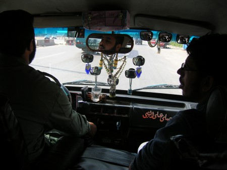 Interior of Syrian microbus