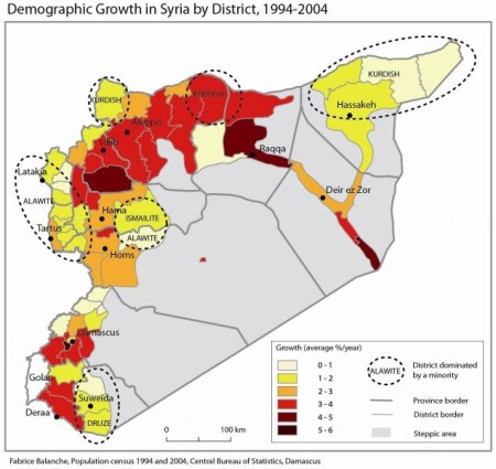 Demographic Growth in Syria by District, 1994_2004 - Frabrice Balanche