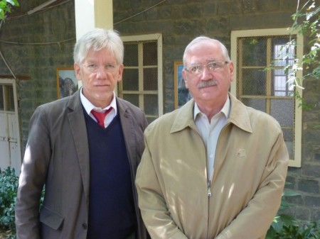 Dr. John Eibner and Nouhad Samaan (right) in Homs