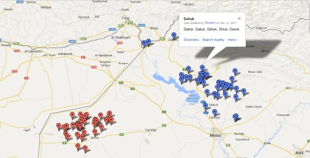 Map of Yazidi villages by Bluebird Research