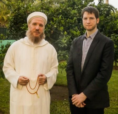 Matthew Barber interviews Sheikh Muhammad al-Yaqoubi, April 2013. Photo: Syria Comment