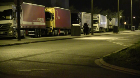 Empty Trucks in Calais- CRS were hidden in the shrubbery