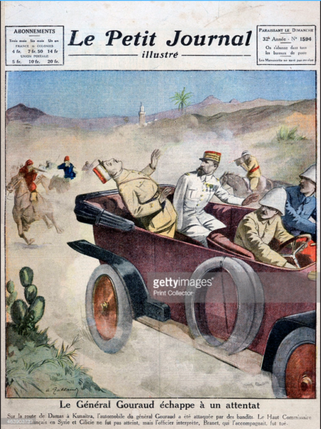 General Gouraud escapes an assassination attempt on route from Damascas to Kunaitra, 1921.