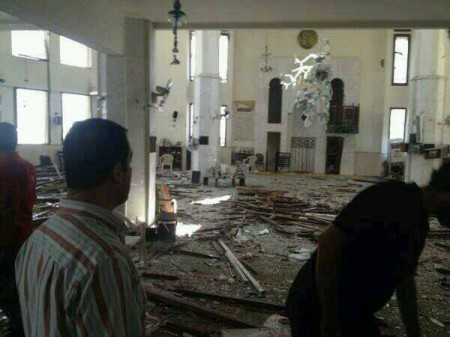 Bombed mosque in Tripoli, Aug 23 2013