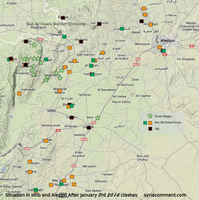 Map of ISIS controlled versus FSA controlled towns in Northern Syria following January 4, 2014