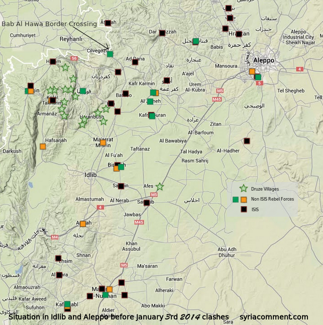 Map of ISIS controlled towns before January 3, 2014