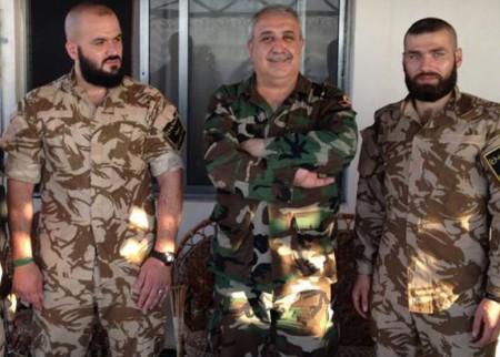Ali Kayali at a recent meeting with two leaders of Syria's largest Shia Islamist militia, the Abul-Fadl al-Abbas Brigade, Messrs. Mokhtar Hussein (Abu Haidar) and Hassan Ajib (Abu Ajib)