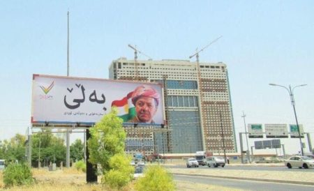 "A new billboard in Erbil with Masoud Barzani's image reading: ""YES—for Kurdish independence and statehood"""