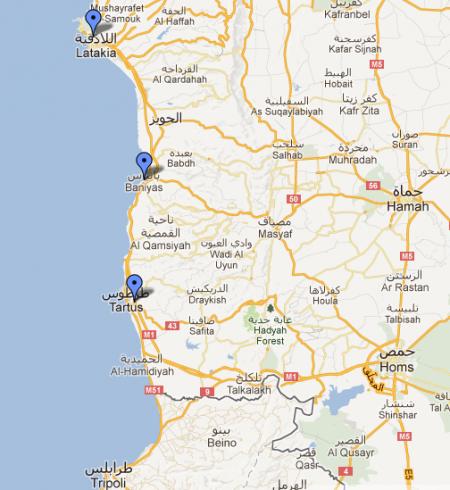 Map showing the cities of Latakia - Baniyas - Tartus on the Syrian coast