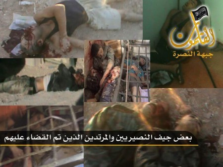 bodies of soldiers after attack on Ma'loula checkpoint