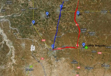 Daraa - fall of Dael map