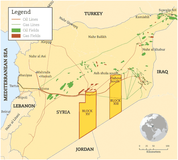 Oil and Gas Fields and Pipelines in Syria - Source: Tri-Ocean Energy